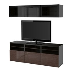 BESTÅ TV storage combination/glass doors, Selsviken high-gloss/brown clear glass, black-brown Width: 180 cm Depth: 40 cm Height: 192 cm