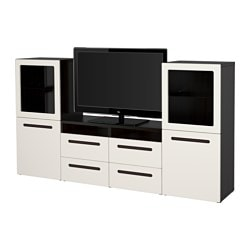 "BESTÅ TV storage combination/glass doors, Marviken white clear glass, black-brown Width: 94 1/2 "" Depth: 15 3/4 "" Height: 50 3/8 "" Width: 240 cm Depth: 40 cm Height: 128 cm"