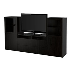 BESTÅ TV storage combination/glass doors, Sindvik black-brown clear glass, Lappviken Width: 240 cm Depth: 40 cm Height: 128 cm