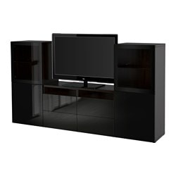 BESTÅ TV storage combination/glass doors, Selsviken high-gloss/black clear glass, black-brown Width: 240 cm Depth: 40 cm Height: 128 cm