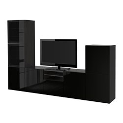BESTÅ TV storage combination/glass doors, Selsviken high-gloss/black clear glass, black-brown Width: 300 cm Depth: 40 cm Height: 192 cm