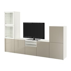 BESTÅ TV storage combination/glass doors, white, Selsviken high-gloss/beige clear glass Width: 300 cm Depth: 40 cm Height: 192 cm