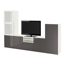 "BESTÅ TV storage combination/glass doors, Selsviken high-gloss/gray frosted glass, white Width: 118 1/8 "" Depth: 15 3/4 "" Height: 75 5/8 "" Width: 300 cm Depth: 40 cm Height: 192 cm"