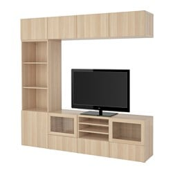 BESTÅ TV storage combination/glass doors, Lappviken, Sindvik white stained oak eff clear glass