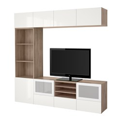 BESTÅ TV storage combination/glass doors, Selsviken high-gloss/white frosted glass, grey stained walnut effect Width: 240 cm Depth: 40 cm Height: 230 cm