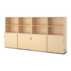 GALANT storage combination w sliding doors, birch veneer Width: 320 cm Depth: 45 cm Height: 160 cm