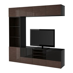 BESTÅ TV storage combination/glass doors, Selsviken high-gloss/brown smoked glass, black-brown Width: 240 cm Depth: 40 cm Height: 230 cm