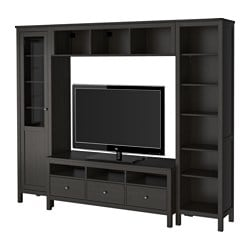 HEMNES TV storage combination, black-brown Width: 247 cm Min. depth: 37 cm Max. depth: 47 cm
