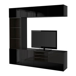 BESTÅ TV storage combination/glass doors, Selsviken high-gloss/black smoked glass, black-brown Width: 240 cm Depth: 40 cm Height: 230 cm