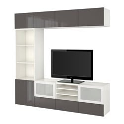 "BESTÅ TV storage combination/glass doors, Selsviken high-gloss/gray frosted glass, white Width: 94 1/2 "" Depth: 15 3/4 "" Height: 90 1/2 "" Width: 240 cm Depth: 40 cm Height: 230 cm"