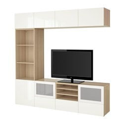 BESTÅ TV storage combination/glass doors, white stained oak effect, Selsviken high-gloss/white frosted glass