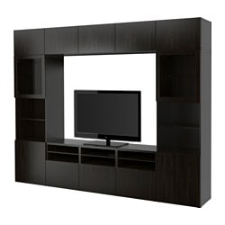 "BESTÅ TV storage combination/glass doors, Sindvik black-brown clear glass, Lappviken Width: 118 1/8 "" Depth: 15 3/4 "" Height: 90 1/2 "" Width: 300 cm Depth: 40 cm Height: 230 cm"