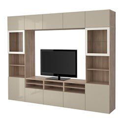 "BESTÅ TV storage combination/glass doors, walnut effect light gray, Selsviken high gloss/beige clear glass Width: 118 1/8 "" Depth: 15 3/4 "" Height: 90 1/2 "" Width: 300 cm Depth: 40 cm Height: 230 cm"