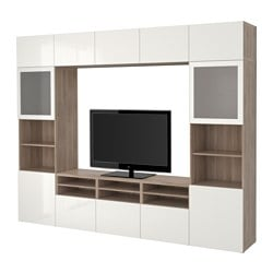 BESTÅ TV storage combination/glass doors, Selsviken high-gloss/white frosted glass, grey stained walnut effect Width: 300 cm Depth: 40 cm Height: 230 cm