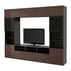 BESTÅ TV storage combination/glass doors, Selsviken high-gloss/brown smoked glass, black-brown Width: 300 cm Depth: 40 cm Height: 230 cm
