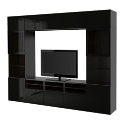"BESTÅ TV storage combination/glass doors, Selsviken high gloss/black clear glass, black-brown Width: 118 1/8 "" Depth: 15 3/4 "" Height: 90 1/2 "" Width: 300 cm Depth: 40 cm Height: 230 cm"