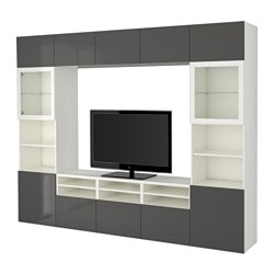 "BESTÅ TV storage combination/glass doors, Selsviken high-gloss/gray clear glass, white Width: 118 1/8 "" Depth: 15 3/4 "" Height: 90 1/2 "" Width: 300 cm Depth: 40 cm Height: 230 cm"
