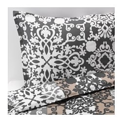 "PRAKTTRY duvet cover and pillowcase(s), beige, gray/white medallion Thread count: 207 square inches Pillowcase quantity: 2 pack Duvet cover length: 86 "" Thread count: 207 square inches Pillowcase quantity: 2 pack Duvet cover length: 218 cm"