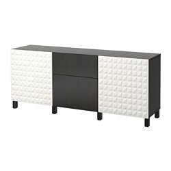 "BESTÅ storage combination with drawers, Lappviken black-brown, Djupviken white Width: 70 7/8 "" Depth: 15 3/4 "" Height: 29 1/8 "" Width: 180 cm Depth: 40 cm Height: 74 cm"