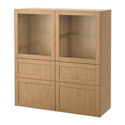 BESTÅ storage combination w glass doors, Sindvik oak effect clear glass, Hanviken Width: 120 cm Depth: 40 cm Height: 128 cm