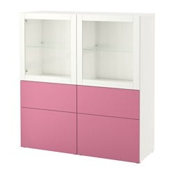 BESTÅ storage combination w glass doors, Lappviken pink, Sindvik white clear glass