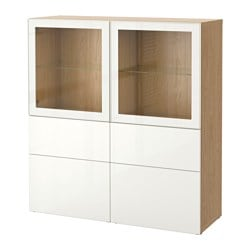 BESTÅ storage combination w glass doors, Selsviken high-gloss/white clear glass, oak effect Width: 120 cm Depth: 40 cm Height: 128 cm