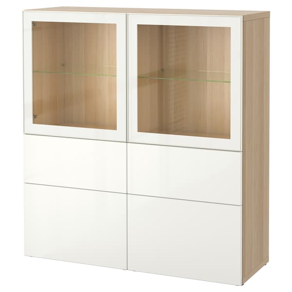 best vitrine eicheneff wlas selsviken hochglanz klarglas wei ikea. Black Bedroom Furniture Sets. Home Design Ideas