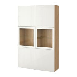 BESTÅ storage combination w glass doors, Selsviken high-gloss/white clear glass, oak effect Width: 120 cm Depth: 40 cm Height: 192 cm