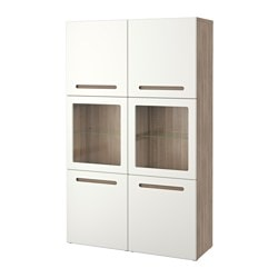 BESTÅ storage combination w glass doors, Marviken white clear glass, grey stained walnut effect Width: 120 cm Depth: 40 cm Height: 192 cm