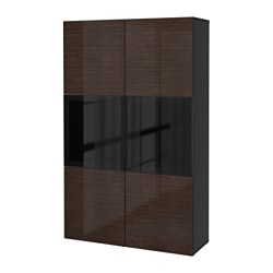 BESTÅ storage combination w glass doors, Selsviken high-gloss/brown smoked glass, black-brown Width: 120 cm Depth: 40 cm Height: 192 cm