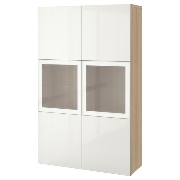 best vitrine eicheneff wlas selsviken hochglanz frostglas wei ikea. Black Bedroom Furniture Sets. Home Design Ideas