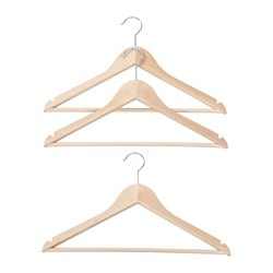 KOMMISS hanger, natural Width: 44 cm Package quantity: 3 pack