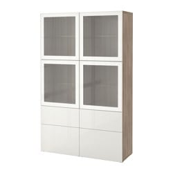 BESTÅ storage combination w glass doors, Selsviken high-gloss/white frosted glass, grey stained walnut effect Width: 120 cm Depth: 40 cm Height: 192 cm
