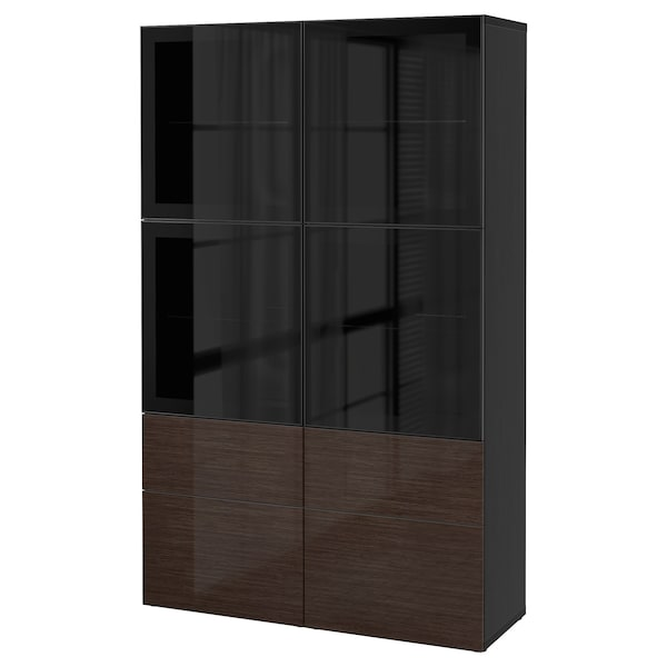 best vitrine schwarzbraun selsviken hochglanz klarglas braun ikea. Black Bedroom Furniture Sets. Home Design Ideas