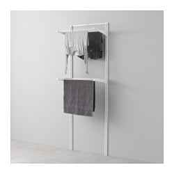 ALGOT wall upright/drying rack, white Width: 65 cm Depth: 40 cm Height: 196 cm