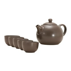 PRESTATION tea/coffee pot and 6 mugs, dark brown