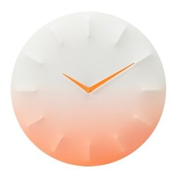 SPRALLIS wall clock, orange, white Depth: 2 cm Diameter: 39 cm