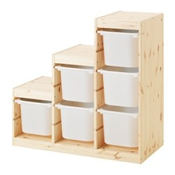 TROFAST storage combination, pine light white stained pine, white Width: 94 cm Depth: 44 cm Height: 91 cm