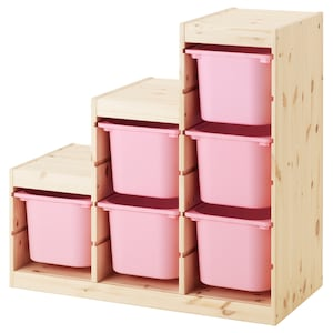 Color: Light white stained pine/pink.