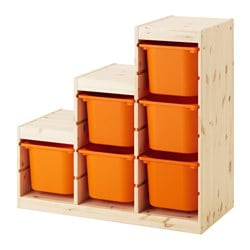 TROFAST, Storage combination, pine light white stained pine, orange