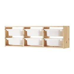 TROFAST wall storage, light white stained pine pine, white