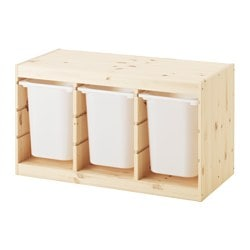 TROFAST storage combination with boxes, pine, white Width: 94 cm Depth: 44 cm Height: 52 cm