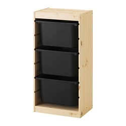 TROFAST storage combination with boxes, pine, black Width: 44 cm Depth: 30 cm Height: 91 cm