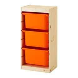 "TROFAST storage combination with boxes, pine light white stained pine, orange Width: 17 3/8 "" Depth: 11 3/4 "" Height: 35 7/8 "" Width: 44 cm Depth: 30 cm Height: 91 cm"