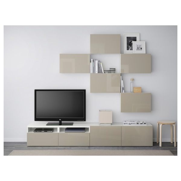 best tv m bel kombination wei selsviken hochglanz beige ikea. Black Bedroom Furniture Sets. Home Design Ideas