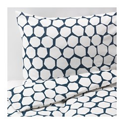 FLÖNG duvet cover and pillowcase(s), blue, white