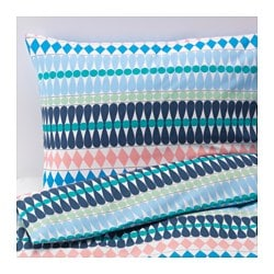 "MOSSFLOX duvet cover and pillowcase(s), multicolor Thread count: 144 square inches Pillowcase quantity: 2 pack Duvet cover length: 86 "" Thread count: 144 square inches Pillowcase quantity: 2 pack Duvet cover length: 218 cm"