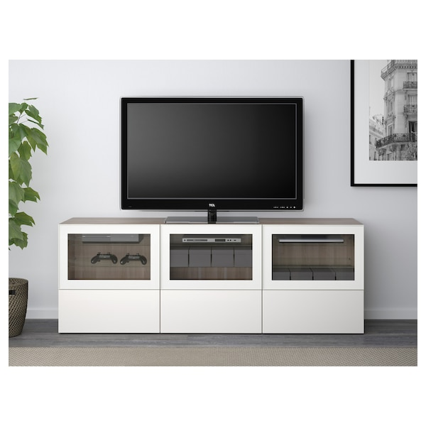 best tv bank mit t ren und schubladen grau las nussbaumnachb selsviken hochglanz klarglas. Black Bedroom Furniture Sets. Home Design Ideas
