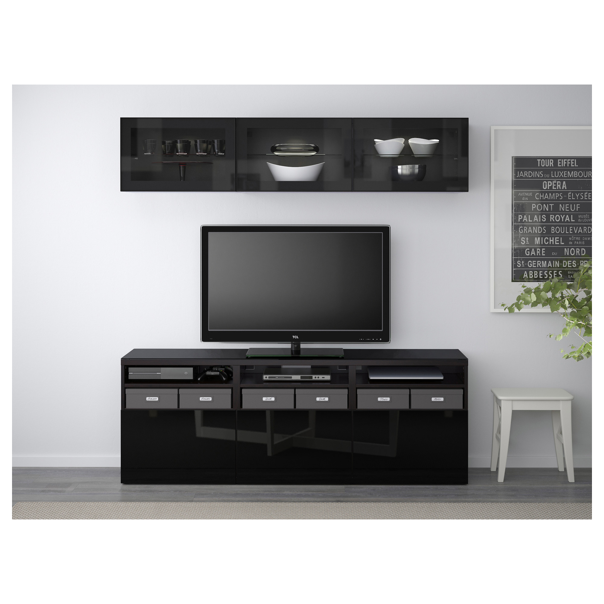 Best Tv Storage Combination Glass Doors Lappviken Sindvik Black  # Tour Dvd Ikea