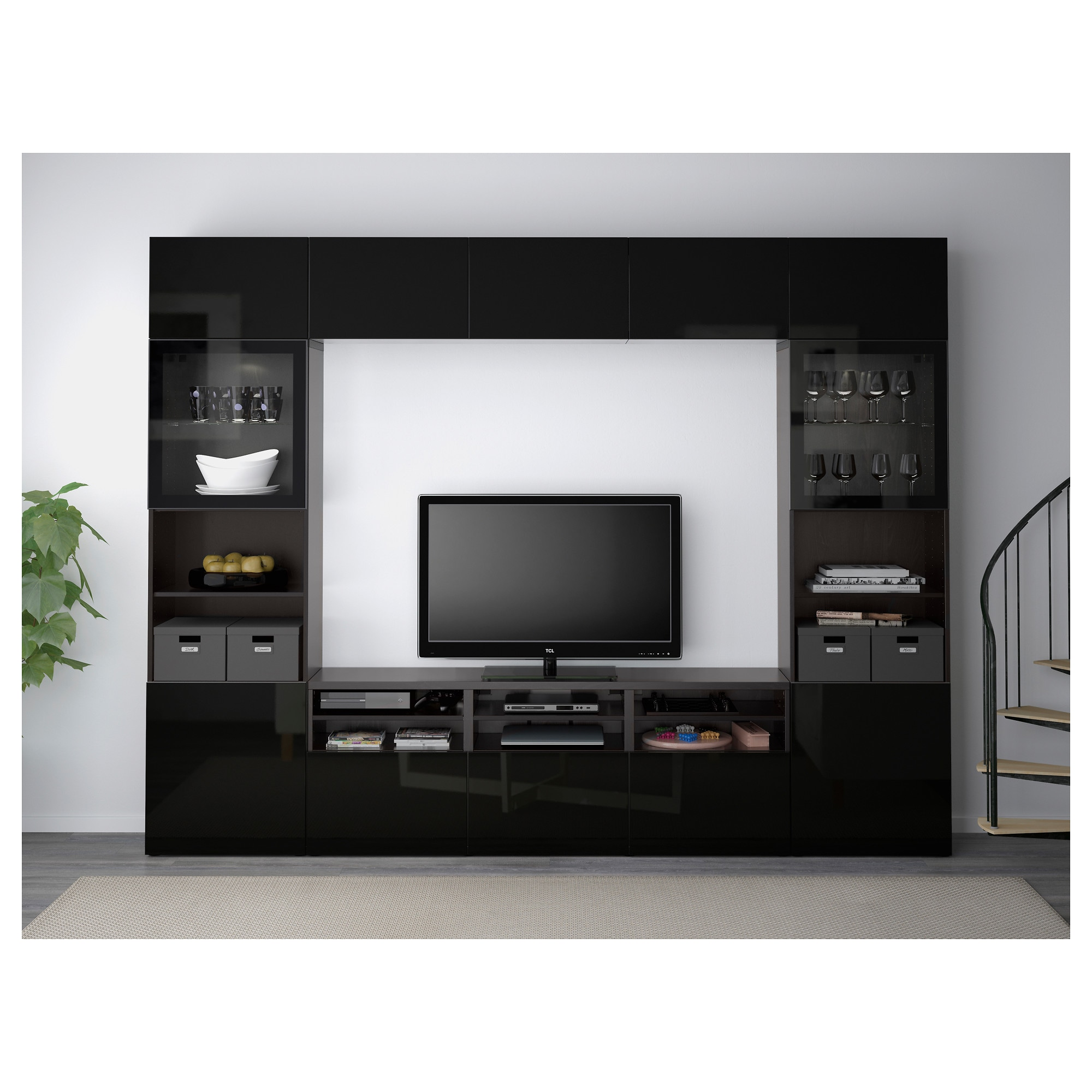 BestÅ Tv Storage Combination Gl Doors Black Brown Selsviken High Gloss Clear Drawer Runner Push Open Ikea